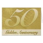 Aniversário escovado falso do ouro do metal (50th) cartão