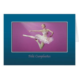 Aniversário, espanhol, pulando a bailarina cartão comemorativo