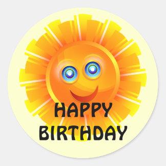 ANIVERSÁRIO: Etiqueta do aniversário da luz do sol Adesivo