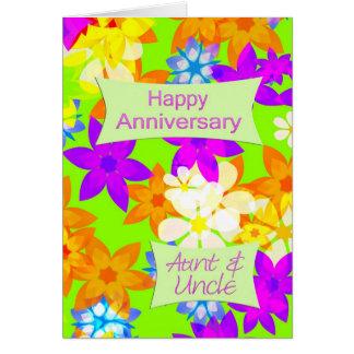 Aniversário fabuloso das flores para a tia e o tio cartão comemorativo