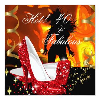 Aniversário fabuloso quente 2 do dançarino de 40 convite quadrado 13.35 x 13.35cm