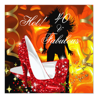 Aniversário fabuloso quente do dançarino de 40 convite quadrado 13.35 x 13.35cm