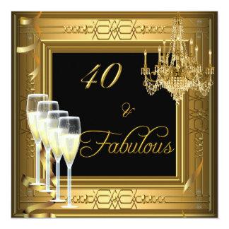 aniversário &Fabulous 2 do preto do ouro da Convite Quadrado 13.35 X 13.35cm