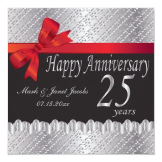 Aniversário feliz 25 anos convite quadrado 13.35 x 13.35cm