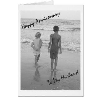 Aniversário feliz a meu marido - praia cartão comemorativo
