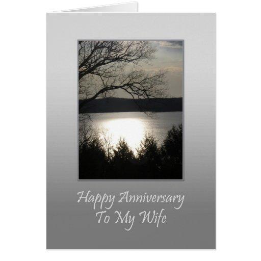 Aniversário feliz a minha esposa - lago sunset cartão
