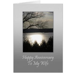 Aniversário feliz a minha esposa - lago sunset cartão comemorativo