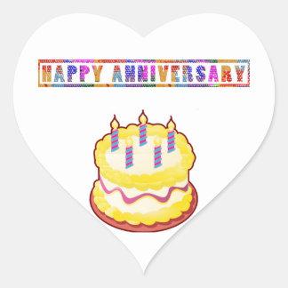 Aniversário FELIZ Adesivo Coração