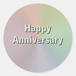 Aniversário feliz adesivo em formato redondo