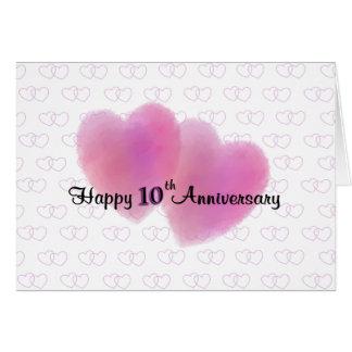 Aniversário feliz de 2 corações 10o cartão comemorativo