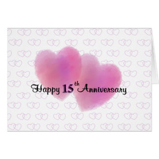 Aniversário feliz de 2 corações 15o cartão comemorativo