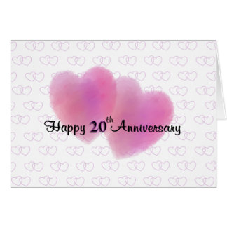 Aniversário feliz de 2 corações 20o cartão