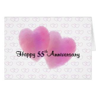 Aniversário feliz de 2 corações 55th cartão comemorativo