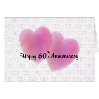 Aniversário feliz de 2 corações 60th cartão comemorativo