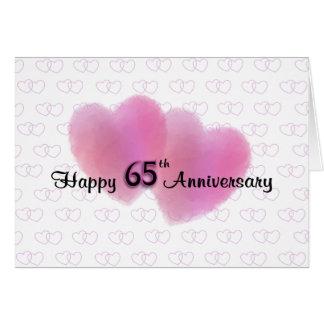 Aniversário feliz de 2 corações 65th cartão comemorativo