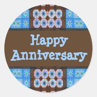 Aniversário feliz de Brown de turquesa Adesivo Redondo