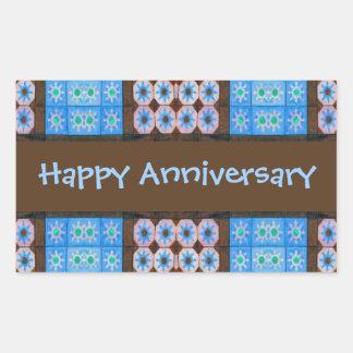 Aniversário feliz de Brown de turquesa Adesivos