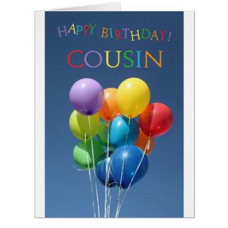 Aniversário feliz do balão do primo cartão comemorativo grande