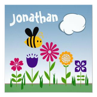 ANIVERSÁRIO feliz do jardim da abelha Convite Quadrado 13.35 X 13.35cm