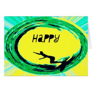 Aniversário feliz do surfista cartão de nota