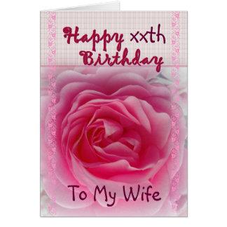 Aniversário feliz do xxth da ESPOSA - rosa do rosa Cartao