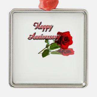 Aniversário feliz ornamento quadrado cor prata