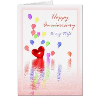 Aniversário feliz para a esposa - coração & balões cartão comemorativo