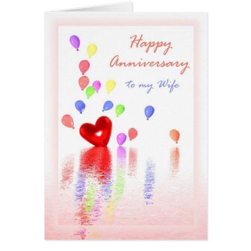 Aniversário feliz para a esposa - coração & balões cartao