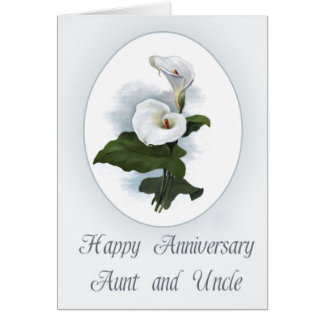 Aniversário feliz, tia e tio, lírios de Calla Cartão Comemorativo