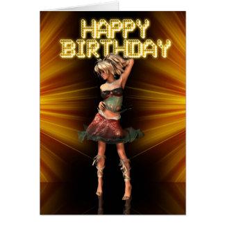 Aniversário fêmea de Deva do feliz aniversario no Cartão Comemorativo