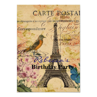 aniversário feminino da torre Eiffel de Paris do Convite 11.30 X 15.87cm