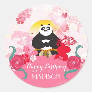 Aniversário floral cor-de-rosa da panda | de Kung Adesivo