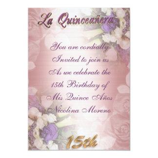 Aniversário floral do convite de Quinceanera do La