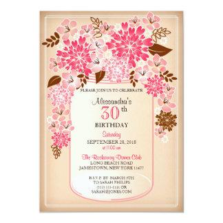 Aniversário floral rústico 1 do pergaminho do convite 12.7 x 17.78cm