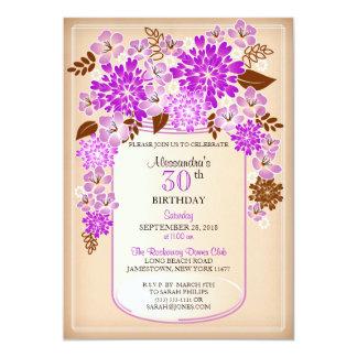 Aniversário floral rústico 3 do pergaminho do