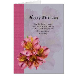 Aniversário, flores do Alstroemeria, religiosas, Cartão Comemorativo
