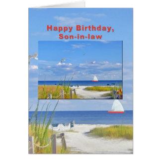 Aniversário, genro, praia e cartão da vista para o