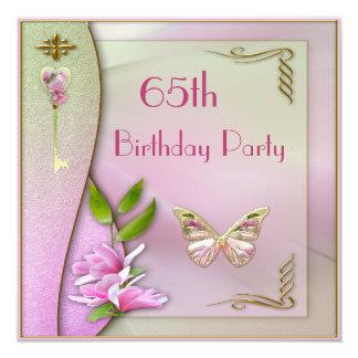 Aniversário glamoroso da chave, da magnólia & da convites personalizado