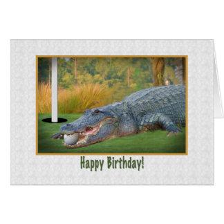 Aniversário, golfe, cartão do jacaré