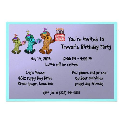 Aniversário Invitaiton do cão de filhote de cachor Convites