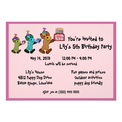 Aniversário Invitaiton do cão de filhote de cachor Convites Personalizado