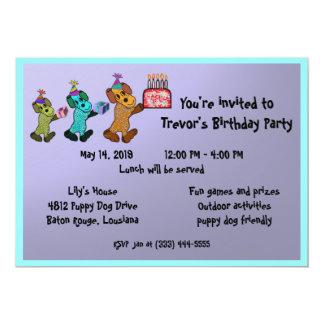 Aniversário Invitaiton do cão de filhote de Convites