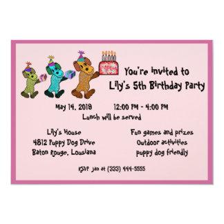 Aniversário Invitaiton do cão de filhote de Convites Personalizado