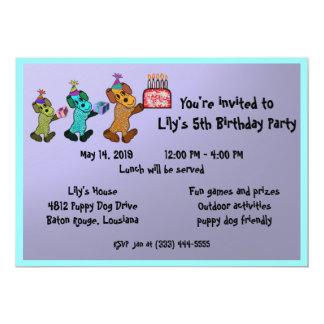 Aniversário Invitaiton do cão de filhote de Convite 12.7 X 17.78cm
