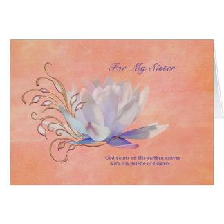Aniversário, irmã, lírio de água, religioso cartões