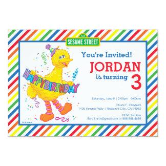 Aniversário listrado do pássaro grande convite 12.7 x 17.78cm