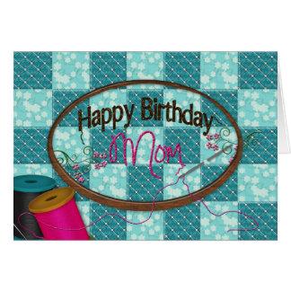 Aniversário - mamã - bordado cartão