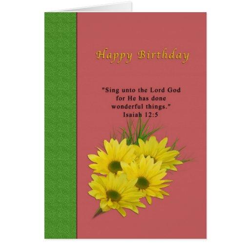 Aniversário, margaridas amarelas, religiosas cartao