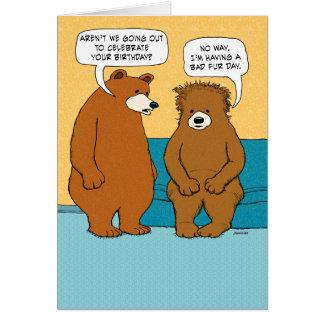 Aniversário mau engraçado do dia da pele cartão comemorativo