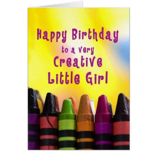 Aniversário - menina - criativo - pastéis cartão comemorativo